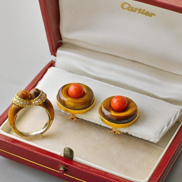 CARTIER 18K YELLOW GOLD TIGER'S EYE JEWELRY
