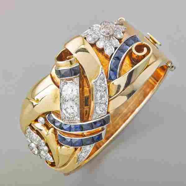 RETRO DIAMOND AND SAPPHIRE HINGED BRACELET