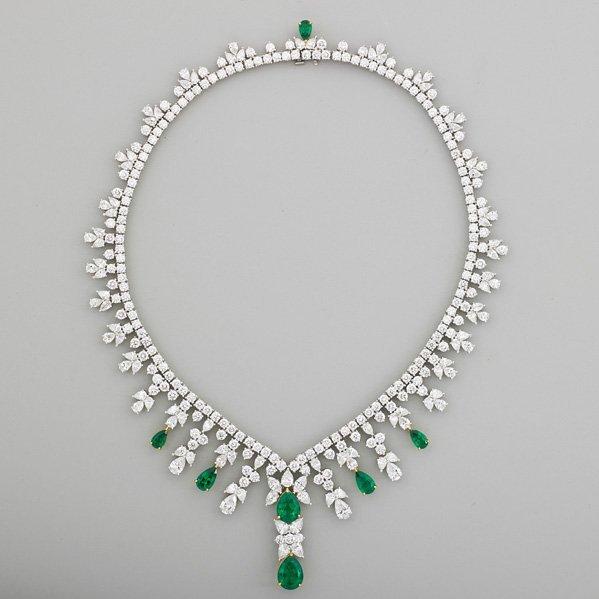 TIFFANY & CO. IMPORTANT DIAMOND, EMERALD NECKLACE