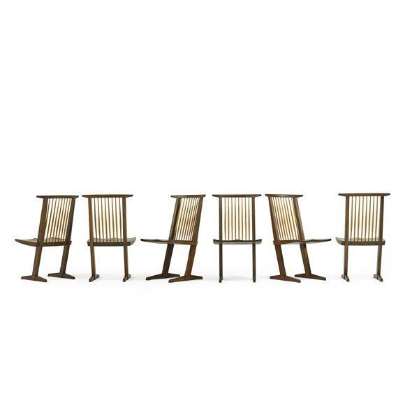 GEORGE NAKASHIMA Six rare laurel Conoid chairs