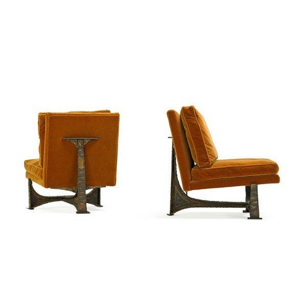 PAUL EVANS; PAUL EVANS STUDIO Pair lounge chairs