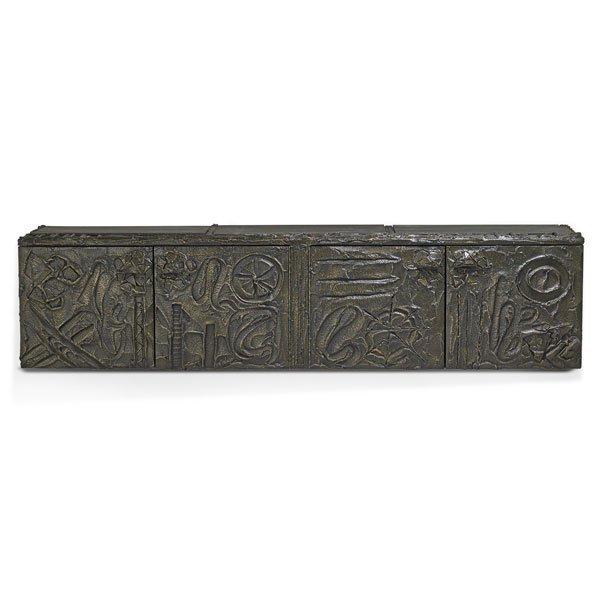 PAUL EVANS; DIRECTIONAL Sculptured Metal cabinet