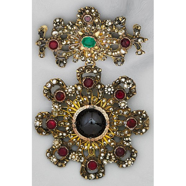 LARGE JEWELED BADGE/BROOCH, 19TH C.