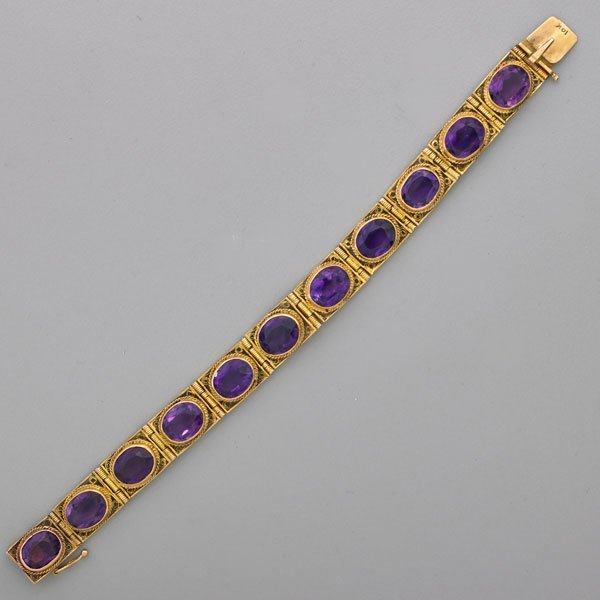 AMETHYST AND CANNETILLE YELLOW GOLD BRACELET