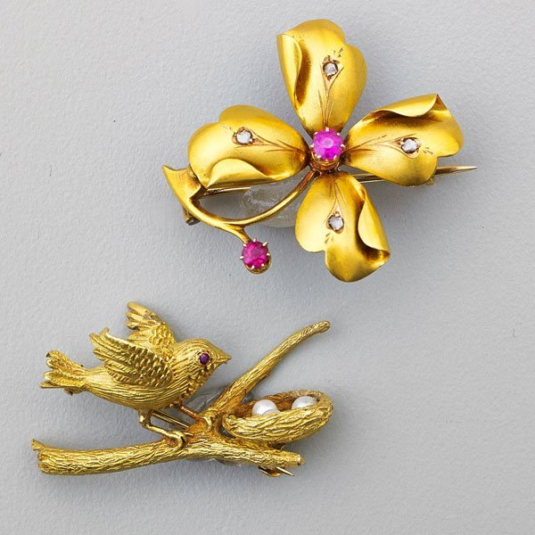 TWO NATURALISTIC GOLD AND RUBY BROOCHES