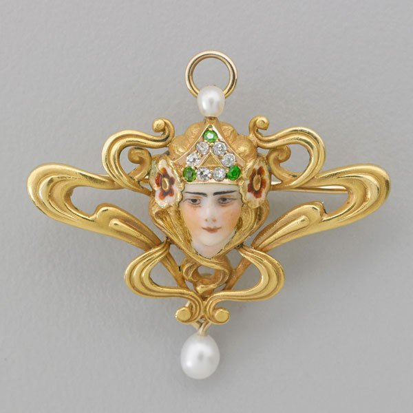 ART NOUVEAU ENAMELED AND JEWELED 14K GOLD BROOCH