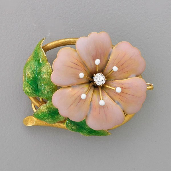 AMERICAN ART NOUVEAU ENAMELED GOLD FLOWER BROOCH