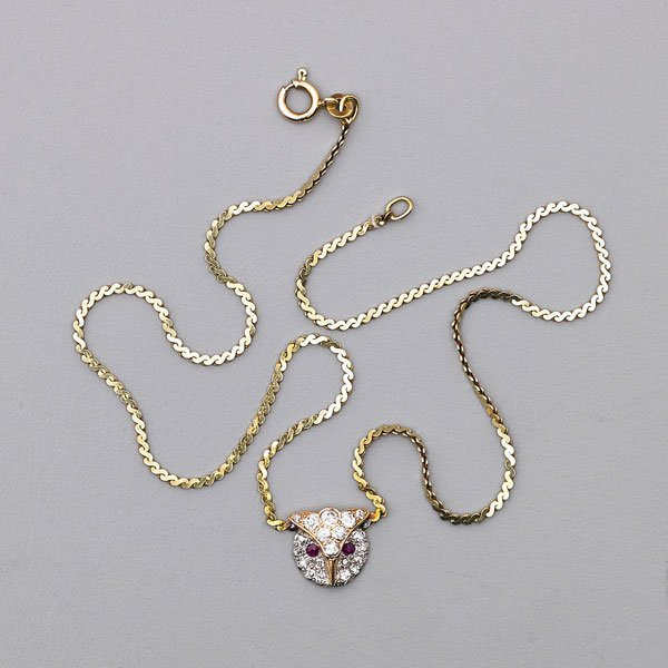 JEWELED 14K GOLD OWL NECKLACE