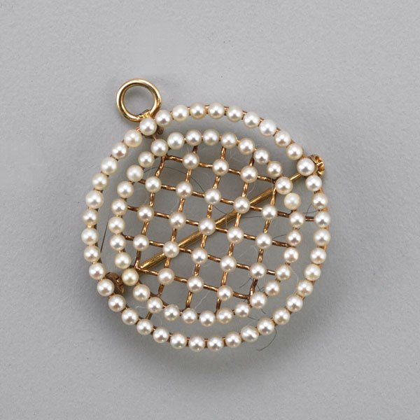 14K YELLOW GOLD SEED PEARL CIRCLE PENDANT BROOCH