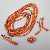 ASSEMBLED SUITE VICTORIAN CORAL BEAD JEWELRY