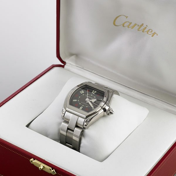 "CARTIER ""ROADSTER"" AUTOMATIC STEEL BRACELET WATCH"