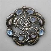 GEORG JENSEN SILVER AND MOONSTONE BROOCH