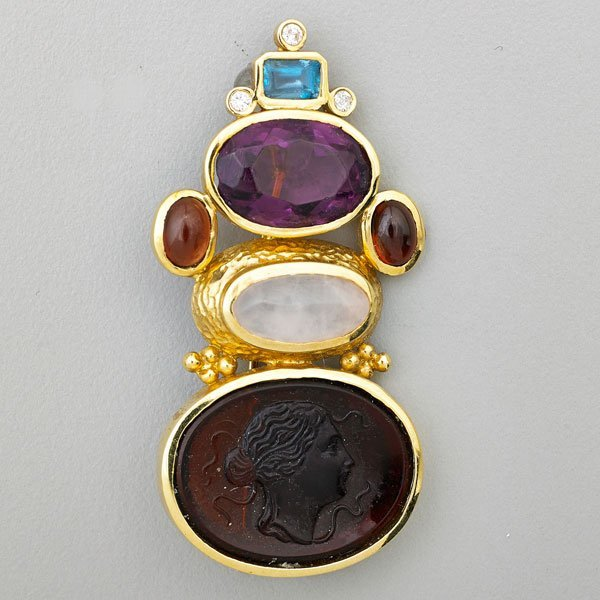 MULTI GEM AND 14K YELLOW GOLD BROOCH