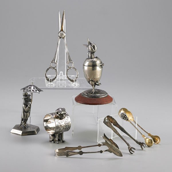 VICTORIAN SILVER PLATE NOVELTIES AND UTENSILS