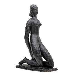 """WAYLANDE GREGORY Sculpture, """"Kneeling Nude"""""""