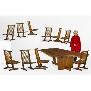 GEORGE NAKASHIMA Sanso table and ten Conoid chairs