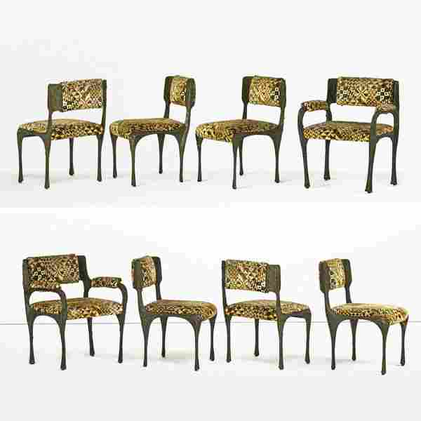 PAUL EVANS Eight Sculptured Metal dining chairs