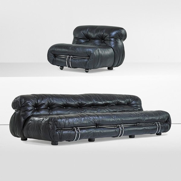 TOBIA SCARPA; CASSINA Soriana sofa, lounge chair