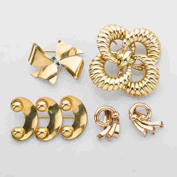 COLLECTION OF RETRO 14K YELLOW GOLD JEWELRY