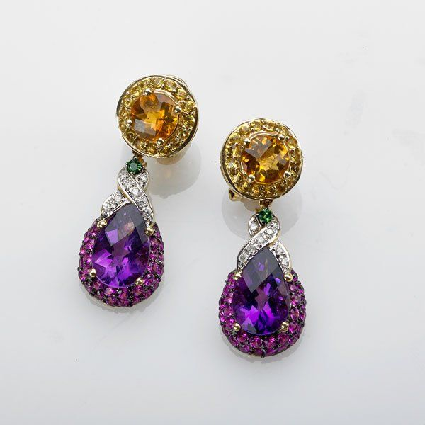 MULTIGEM AND DIAMOND SET DROP EARRINGS