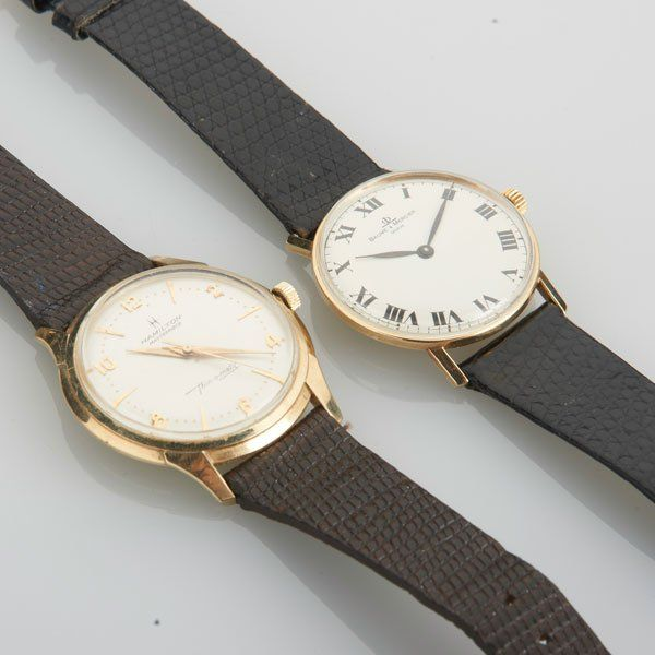 TWO GENT'S MECHANICAL 14K GOLD WRISTWATCHES
