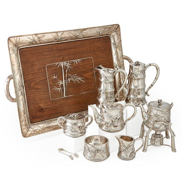 JAPANESE MEIJI PERIOD STERLING TEA AND COFFEE SERVICE