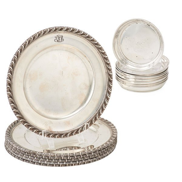TIFFANY & CO. STERLING BREAD TRAYS AND COASTERS