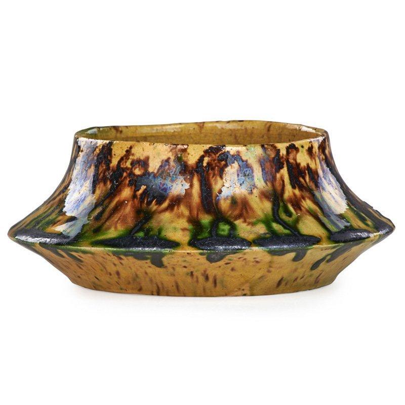 GEORGE OHR Squat vessel, multicolor glaze