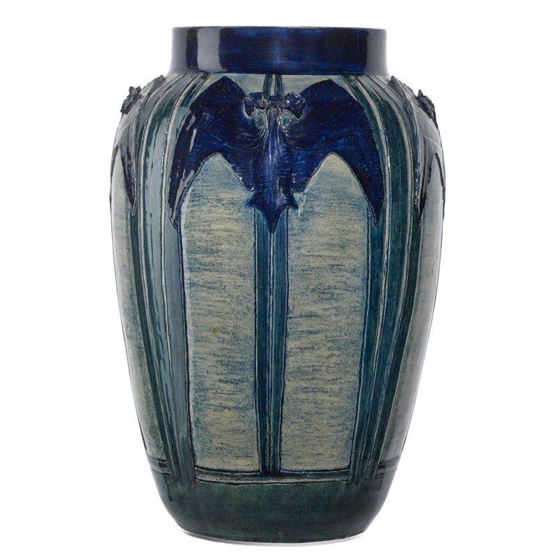 L. NICHOLSON; NEWCOMB COLLEGE Rare vase w/ bats