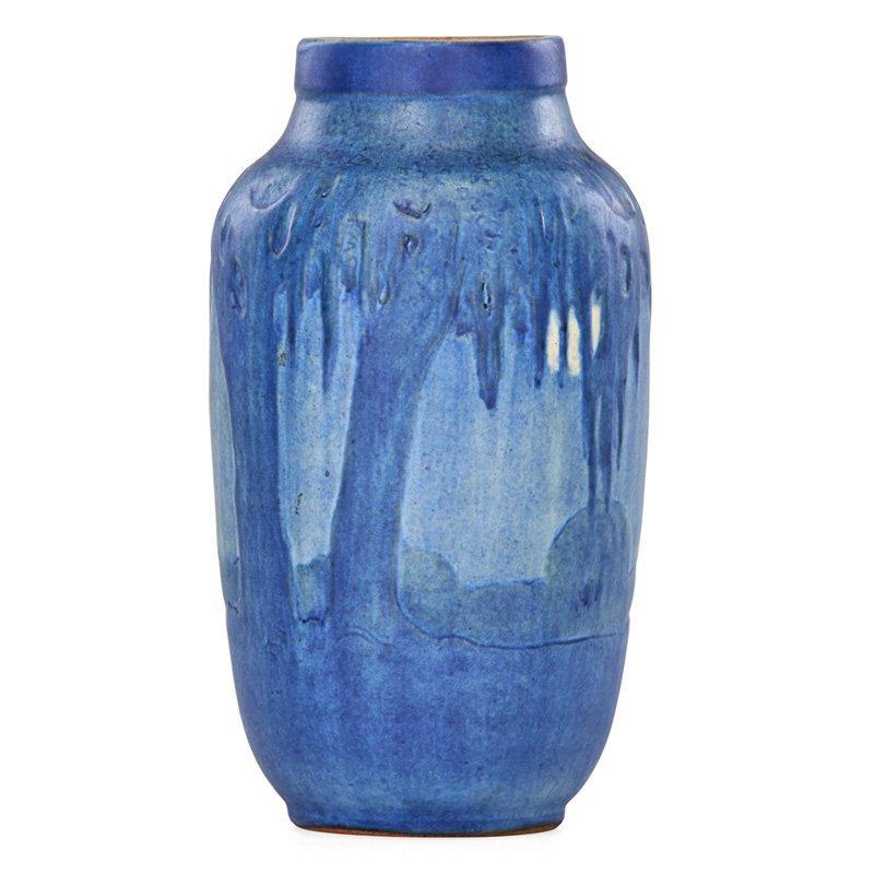 S. IRVINE; NEWCOMB COLLEGE Scenic vase, full moon