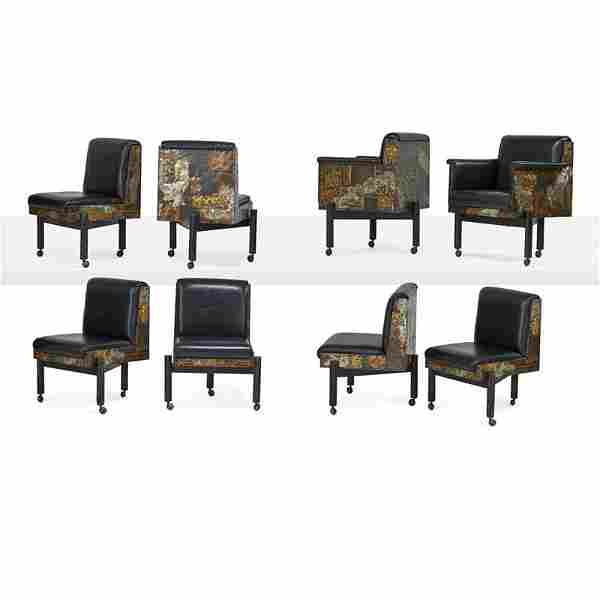 PAUL EVANS Eight Patchwork dining chairs