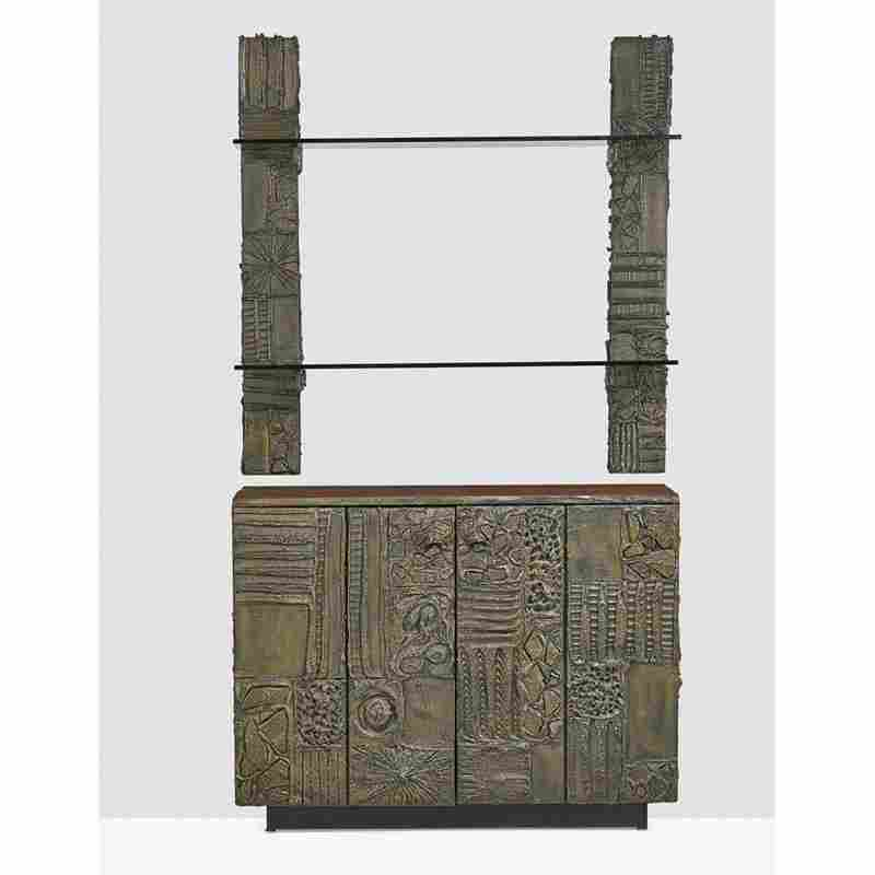 PAUL EVANS Sculptured Metal cabinet with shelving