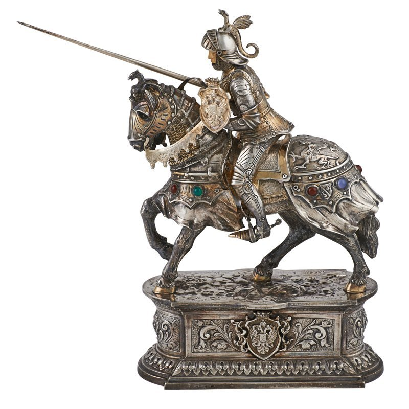 GERMAN JEWELED STERLING FIGURE OF JOUSTING KNIGHT
