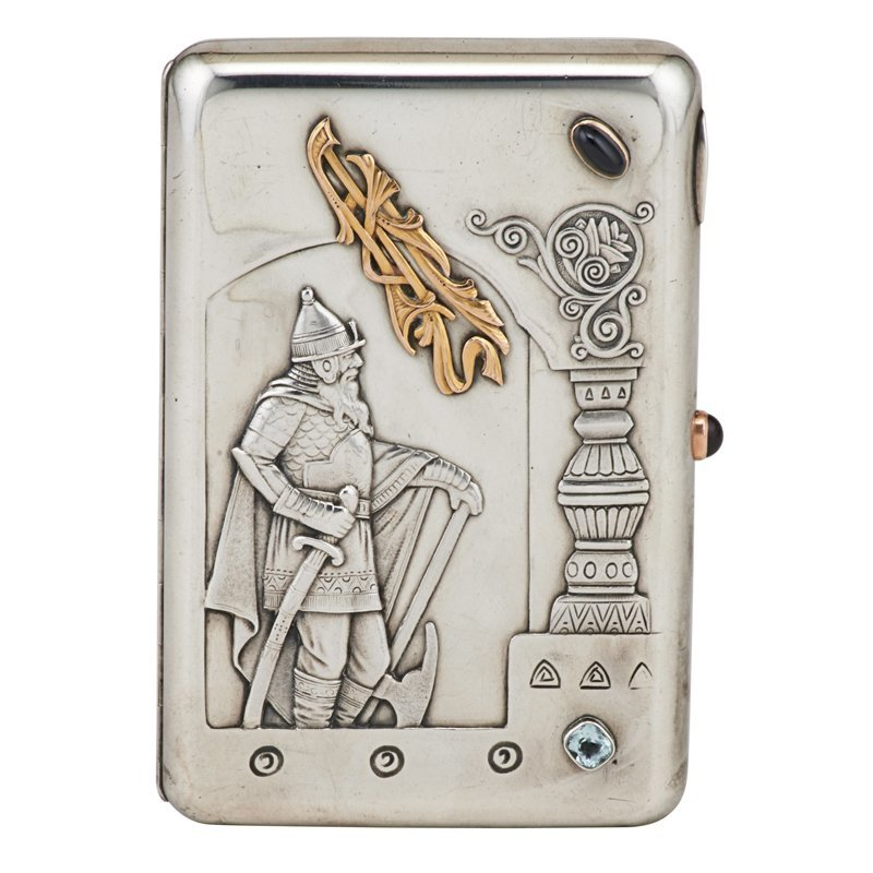 15 ARTEL JEWELED 84 SILVER CIGARETTE CASE, MOSCOW
