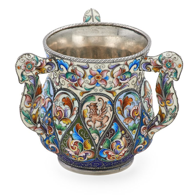 RUCKERT CLOISONNE ENAMELED SILVER THREE HANDLE CUP