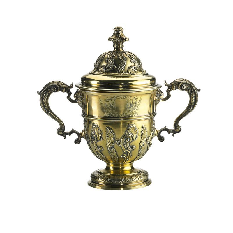 GEORGE II LARGE GILT SILVER CUP & COVER, JOHN PERO