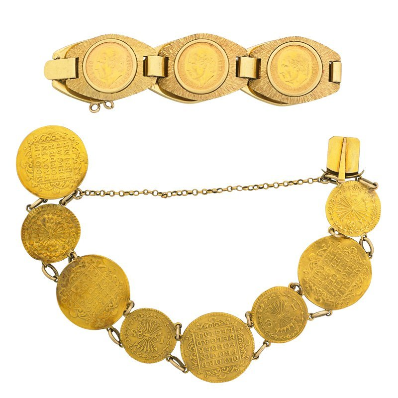 TWO HIGH CARAT GOLD COIN BRACELETS