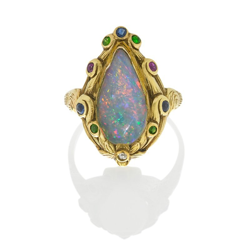 J.E. CALDWELL OPAL & GEMSTONE RING BY GUSTAV MANZ