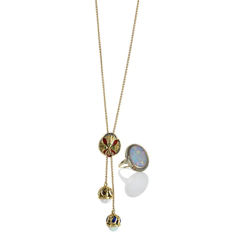 ART DECO ENAMELED 14K GOLD AND OPAL JEWELRY