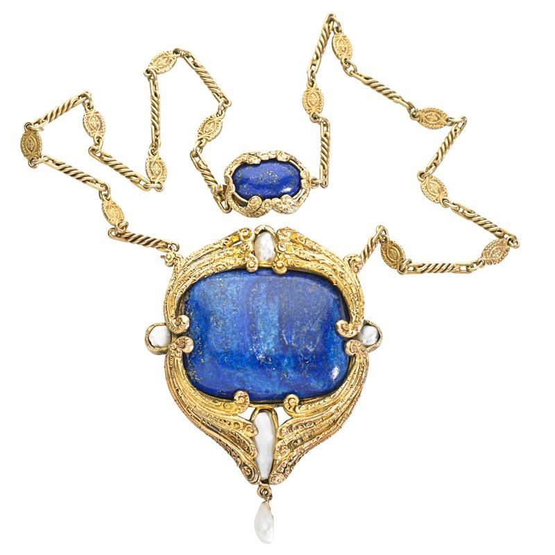 LAPIS, PEARL VERMEIL NECKLACE AFTER L.C. TIFFANY