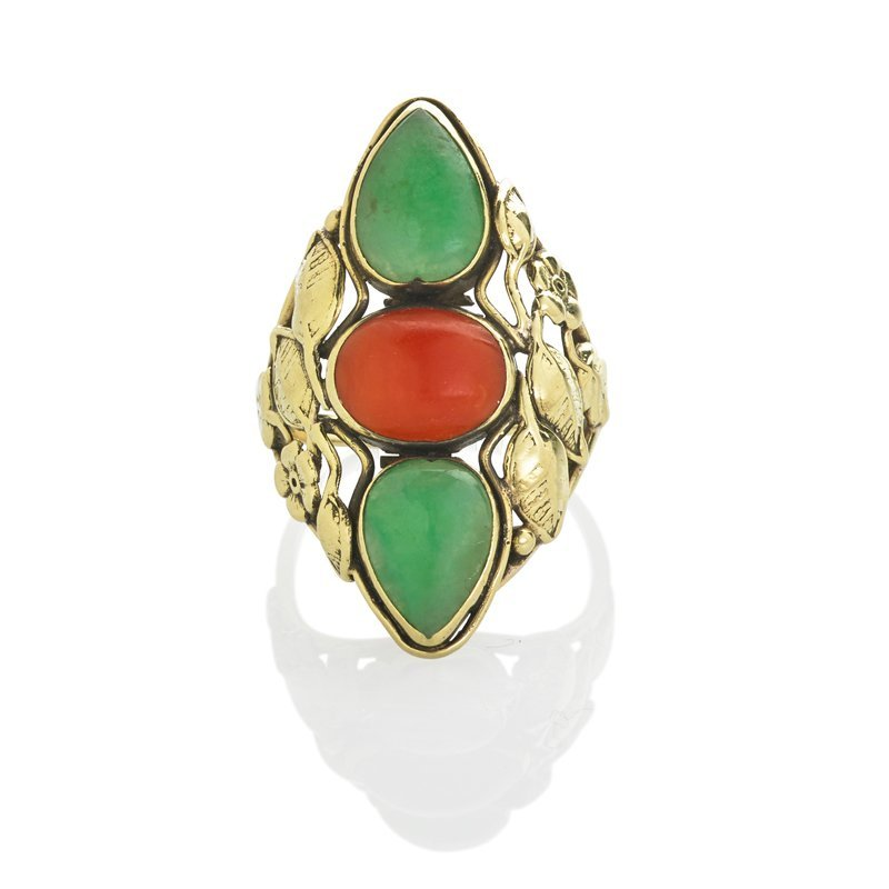 ARTS AND CRAFTS CORAL AND JADE 14K YG. RING