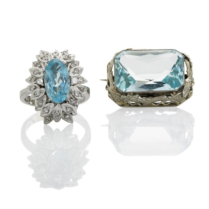AQUAMARINE 18K WHITE GOLD RING AND BROOCH