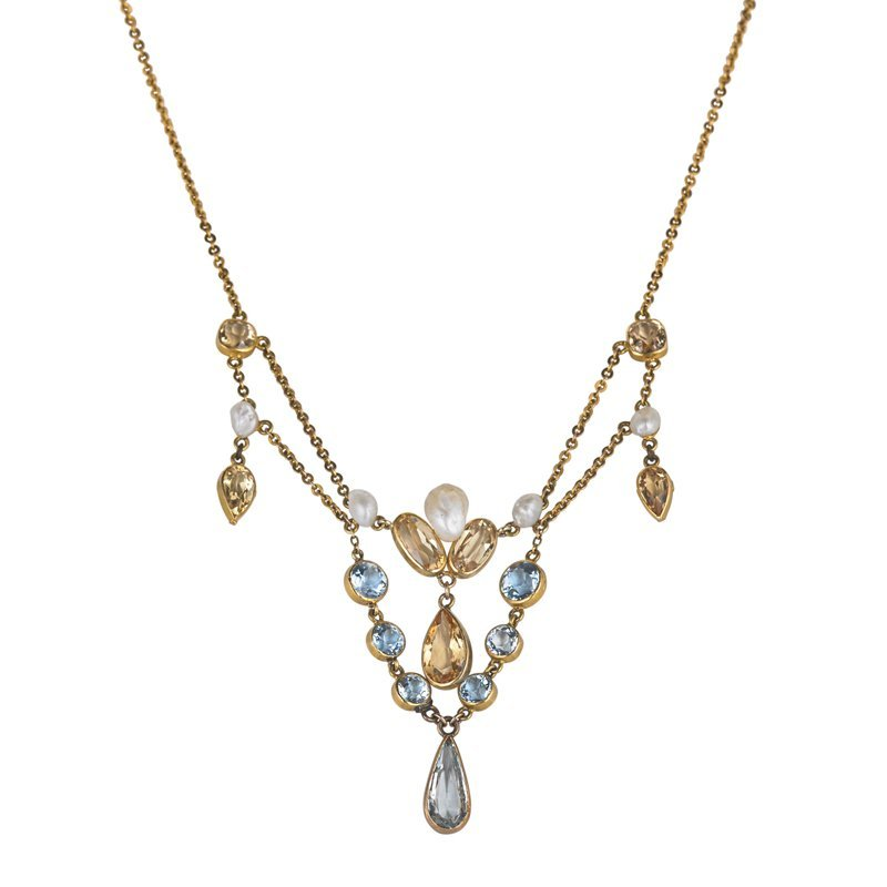 ART NOUVEAU AQUAMARINE, CITRINE FESTOON NECKLACE