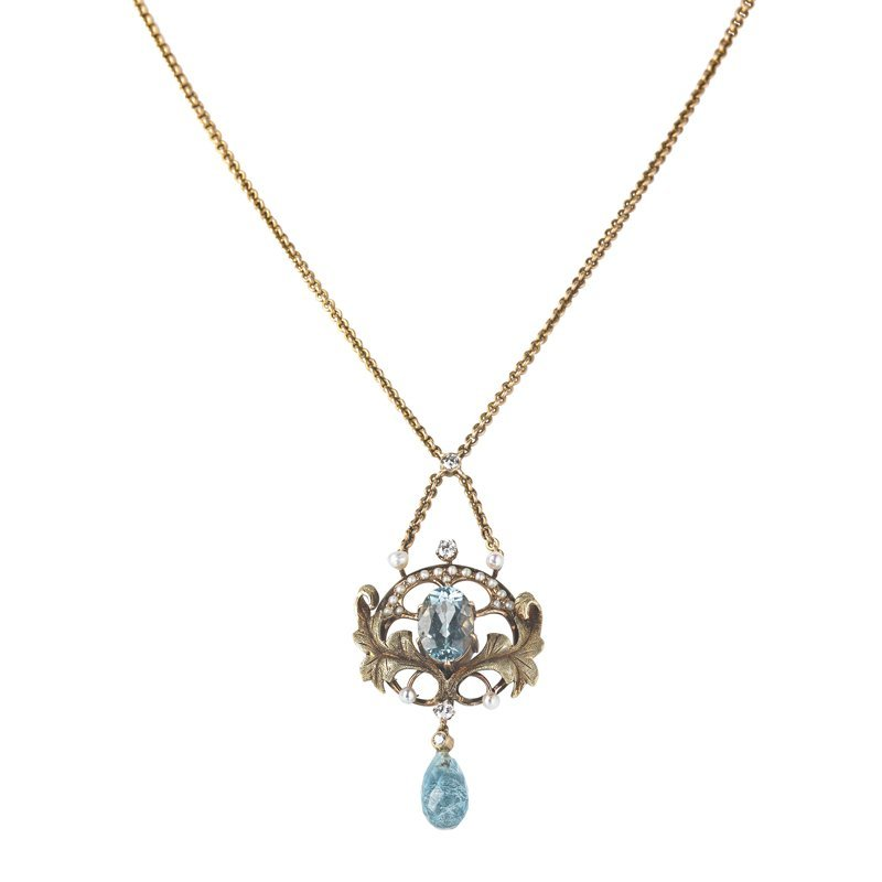 VICTORIAN AQUAMARINE, DIAMOND AND PEARL LAVALIERE