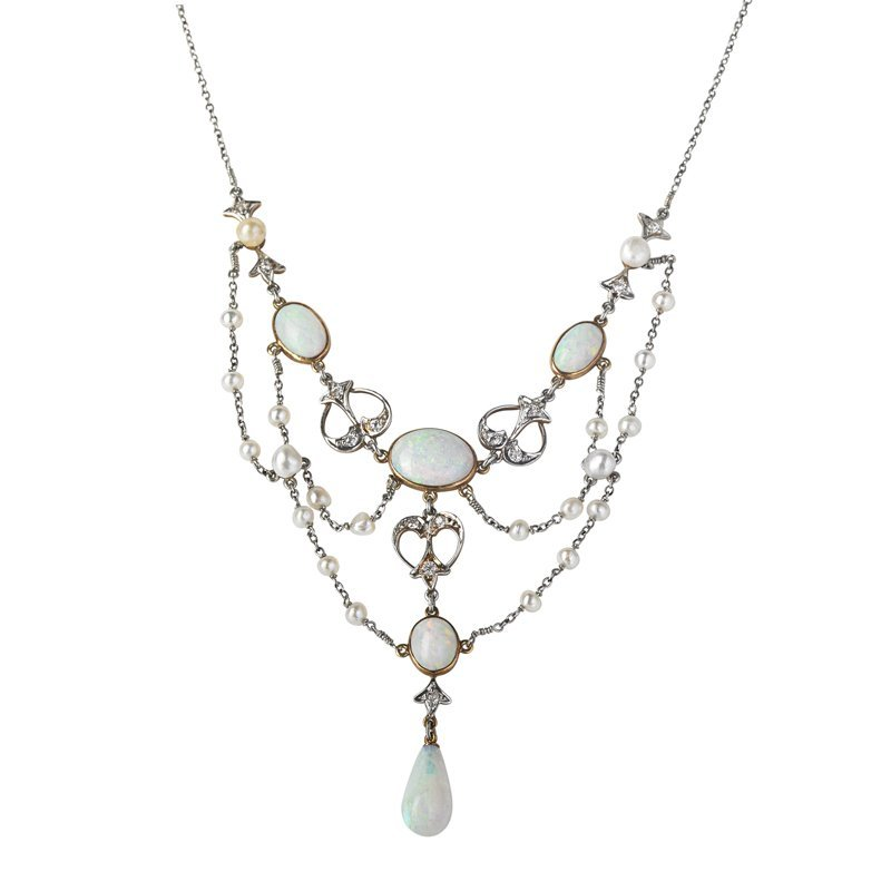 OPAL, DIAMOND AND SEED PEARL FESTOON NECKLACE
