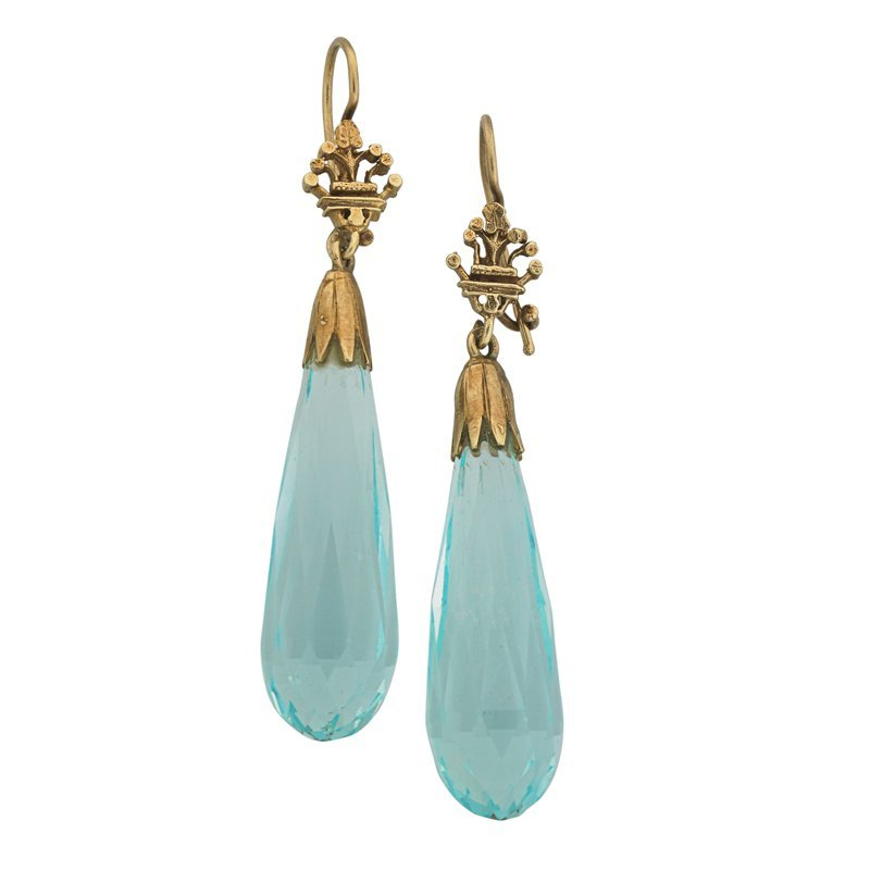 AQUAMARINE BRIOLETTE 14K GOLD PENDANT EARRINGS