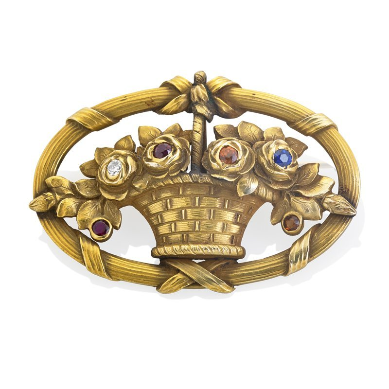 JEWELED 14K GOLD BROOCH, GILLOT & CO.