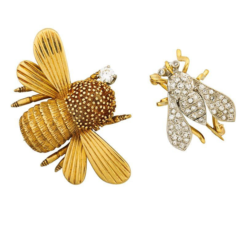 TWO GOLD INSECT BROOCHES WITH DIAMONDS