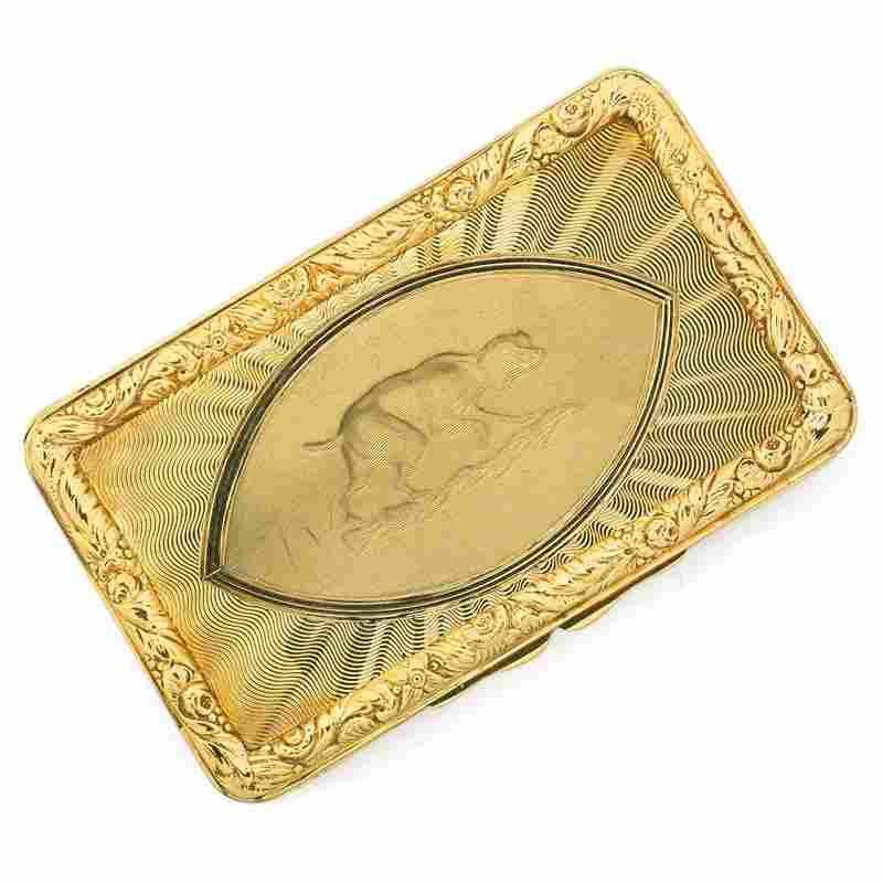 ANTIQUE 18K GOLD SNUFF BOX, CARTIER