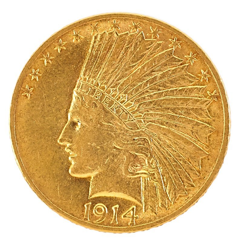 U.S. 1914 INDIAN HEAD GOLD $10.00 COIN